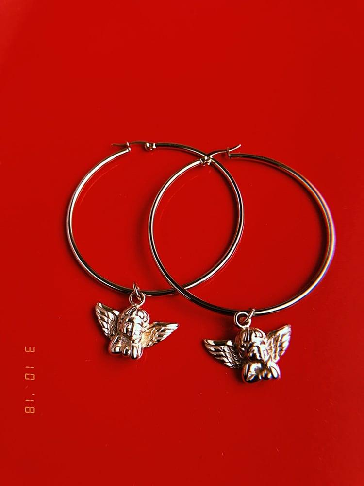 Image of GOLD CHERUB HOOP EARRINGS
