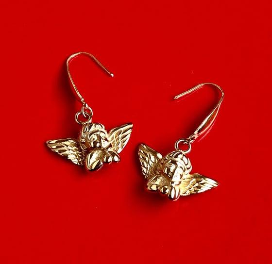 Image of GOLD CHERUB DROP EARRINGS