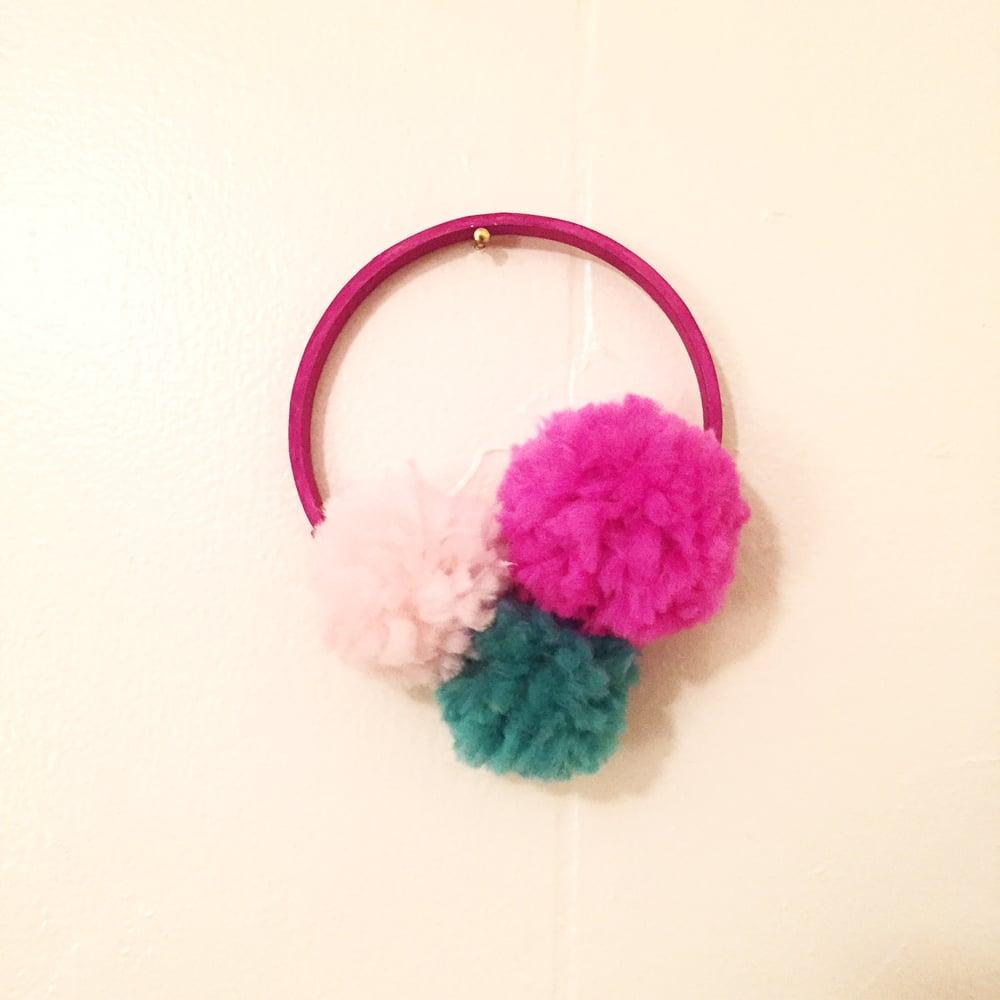 """Image of 3"""" Pink Pom Pom Hoop"""