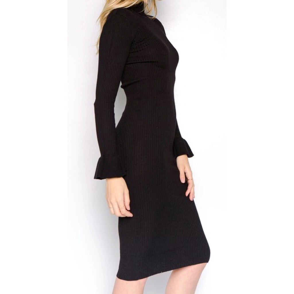 Image of Kayla Ribbed Black Dress