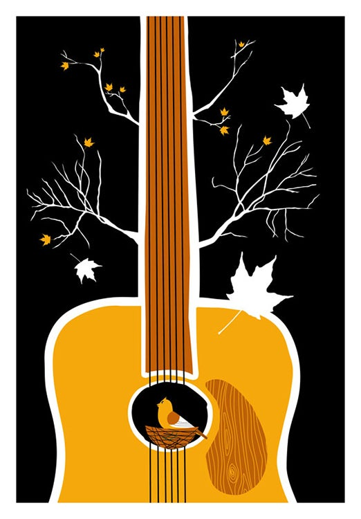 Image of Songbird Silkscreen Guitar Birdhouse Print - New!