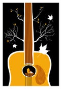 Image of Songbird Silkscreen Guitar Birdhouse Print