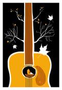 Image of Songbird Silkscreen Guitar Birdhouse Print