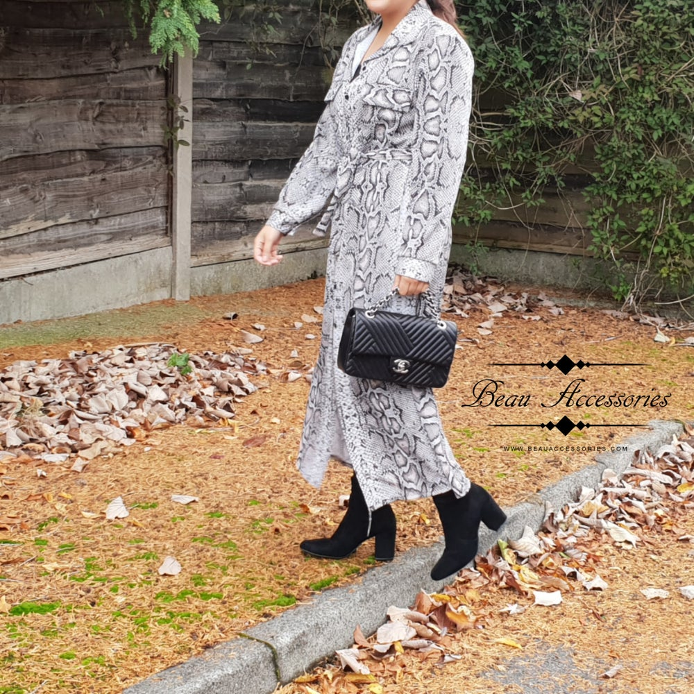 Image of Black & Grey Snake Print Dress (Was £26.99)