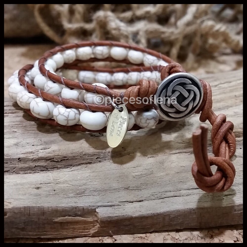 Image of Double Wrap Bracelet - Howlite Celtic