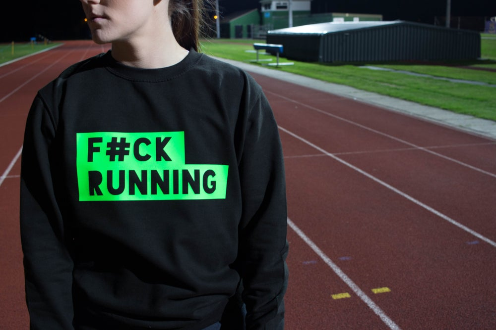 Image of F#ck Running Sweat BLK/FLURO GREEN