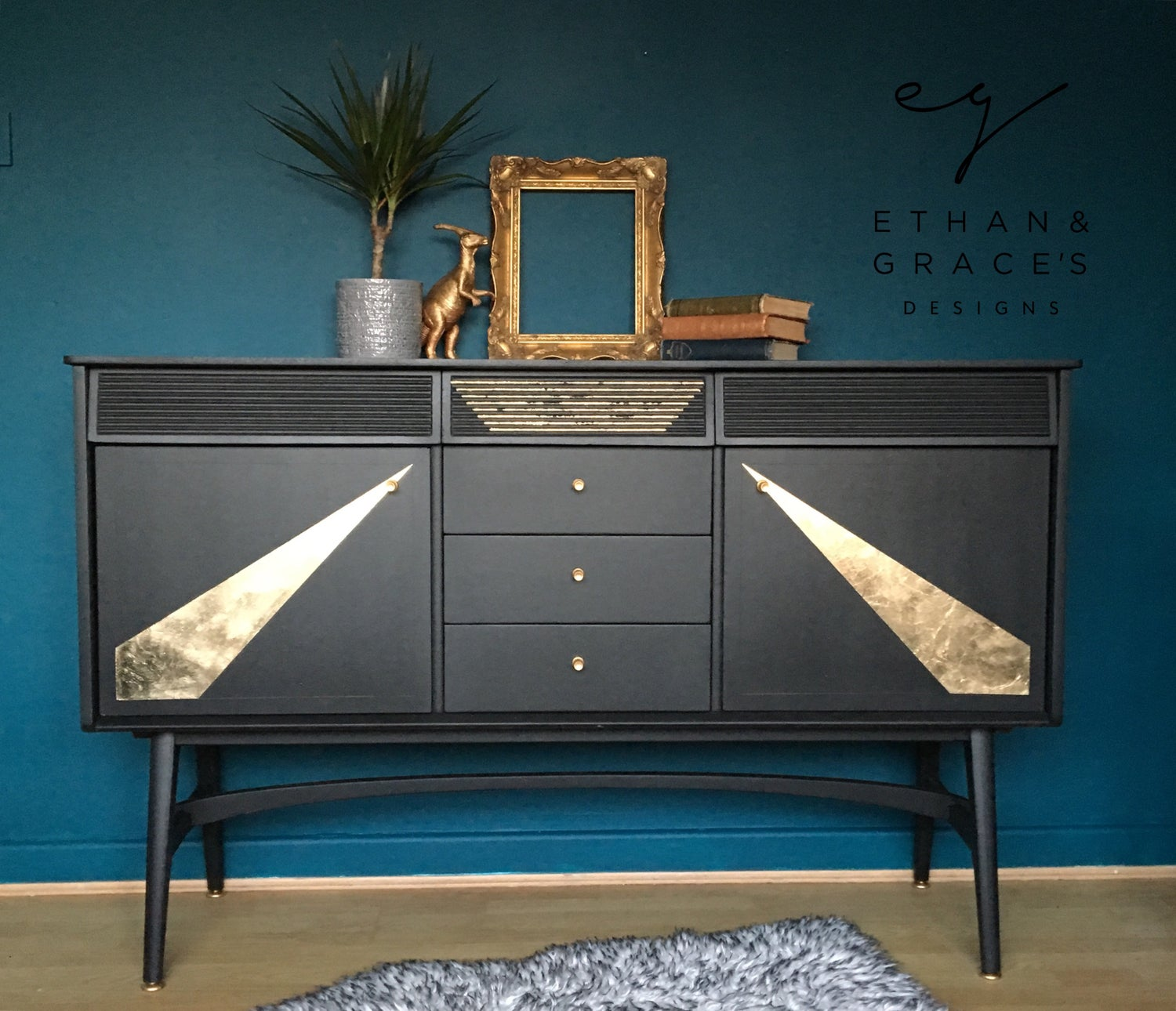 Image of A black & gold leaf Nathan sideboard