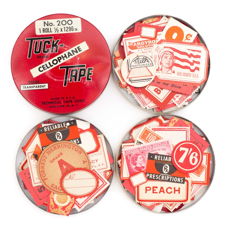 Image of Tape Tin with Red Ephemera