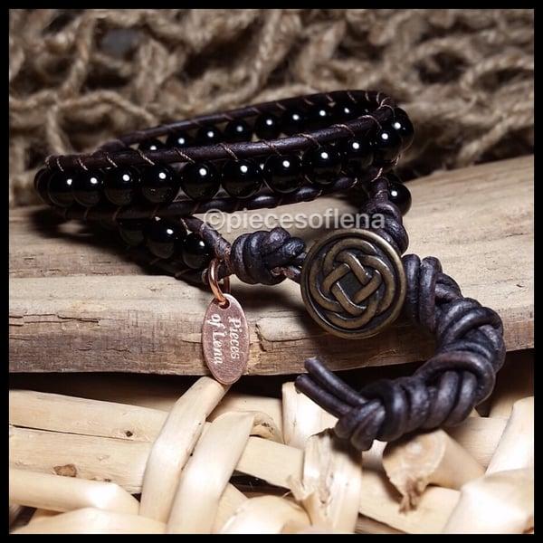 Image of Double Wrap Bracelet - Black Jasper Celtic Copper Brass