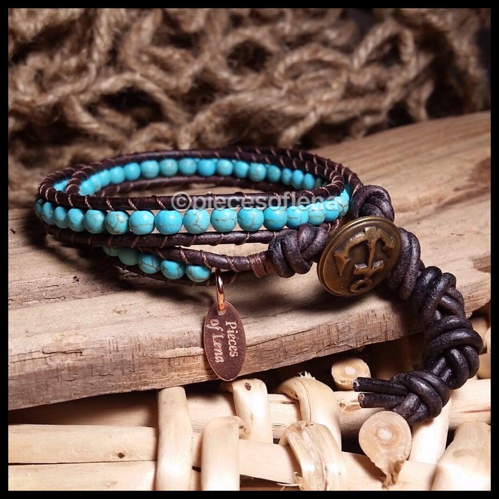Image of Double Wrap Bracelet - Turquoise Blue Anchor