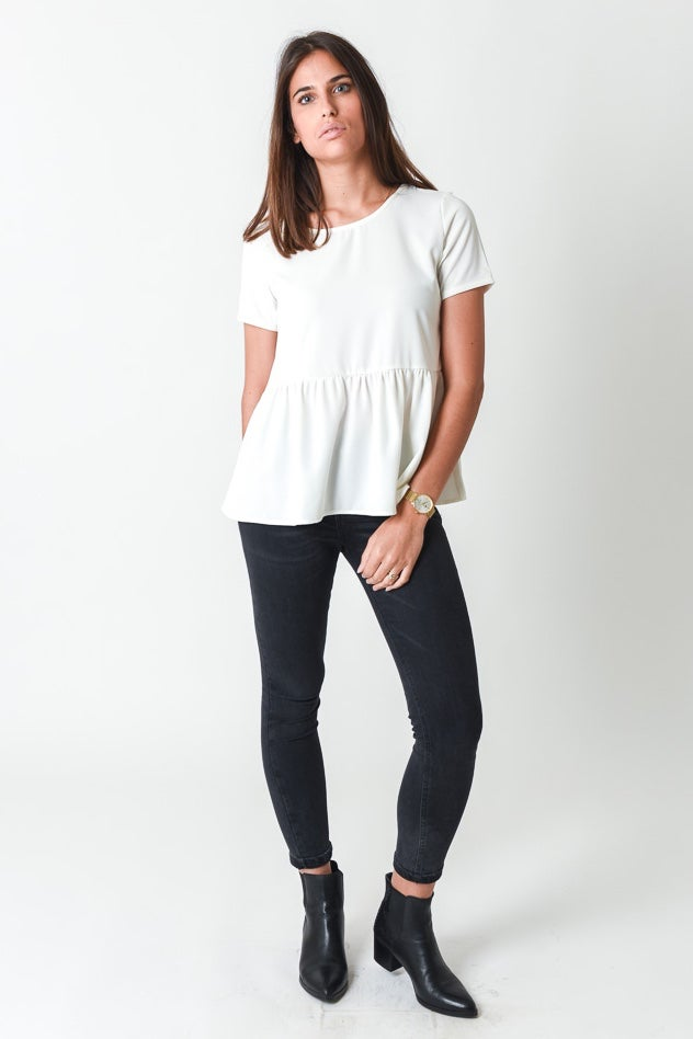 Image of BLOUSE LOLA MANCHES COURTES - BLANC CASSE