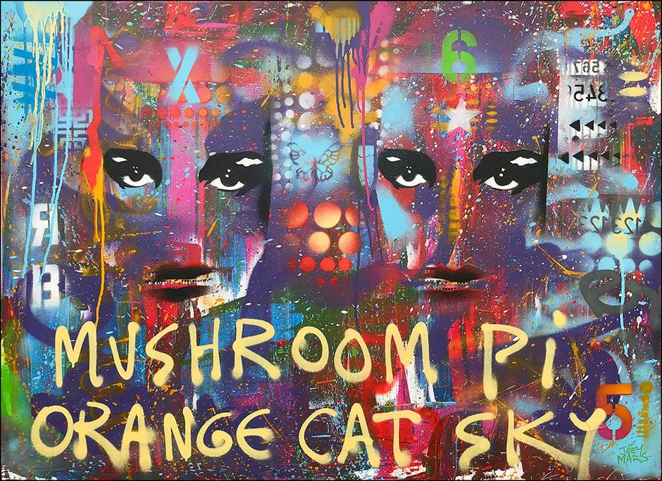 Image of Mushroom Pi Orange Cat Sky painting