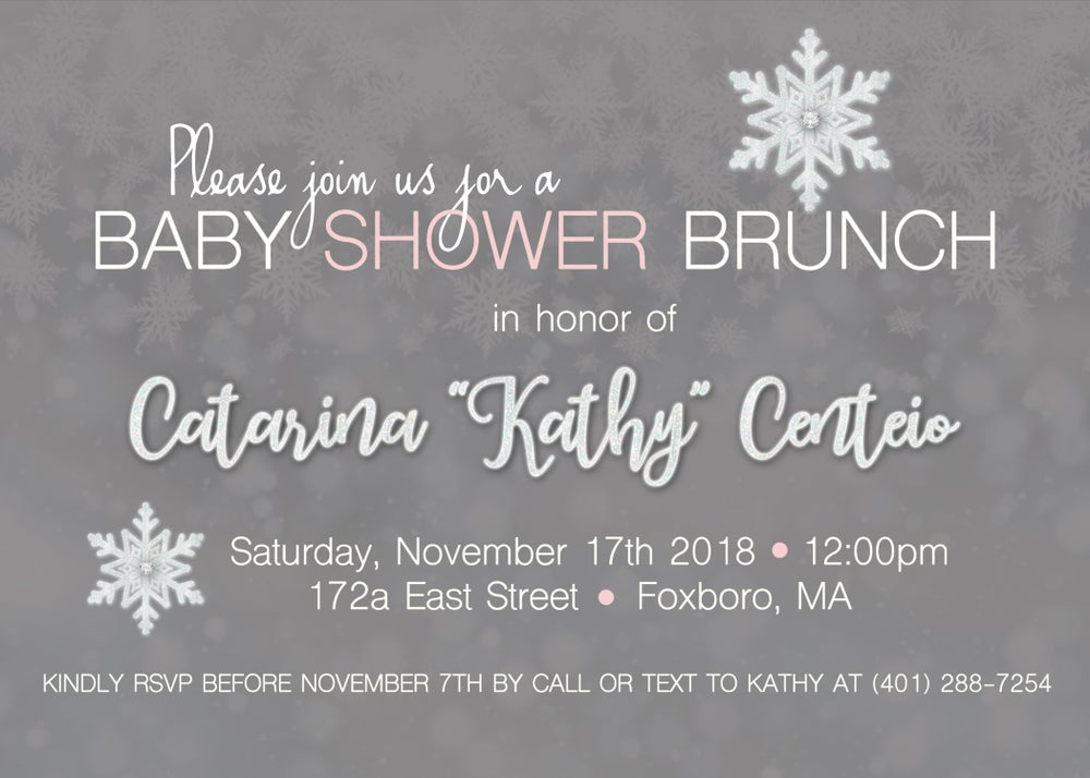 Image of Snowflake Baby Shower & 40th Birthday Invite