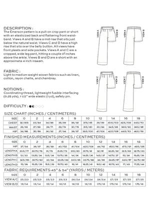 Image of EMERSON CROP PANT / SHORT (PDF)