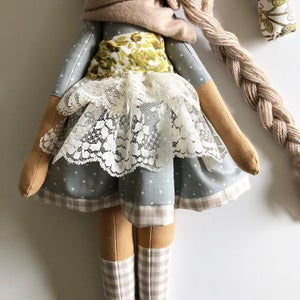 Image of Classic Doll Floral Green-choose your own eyes