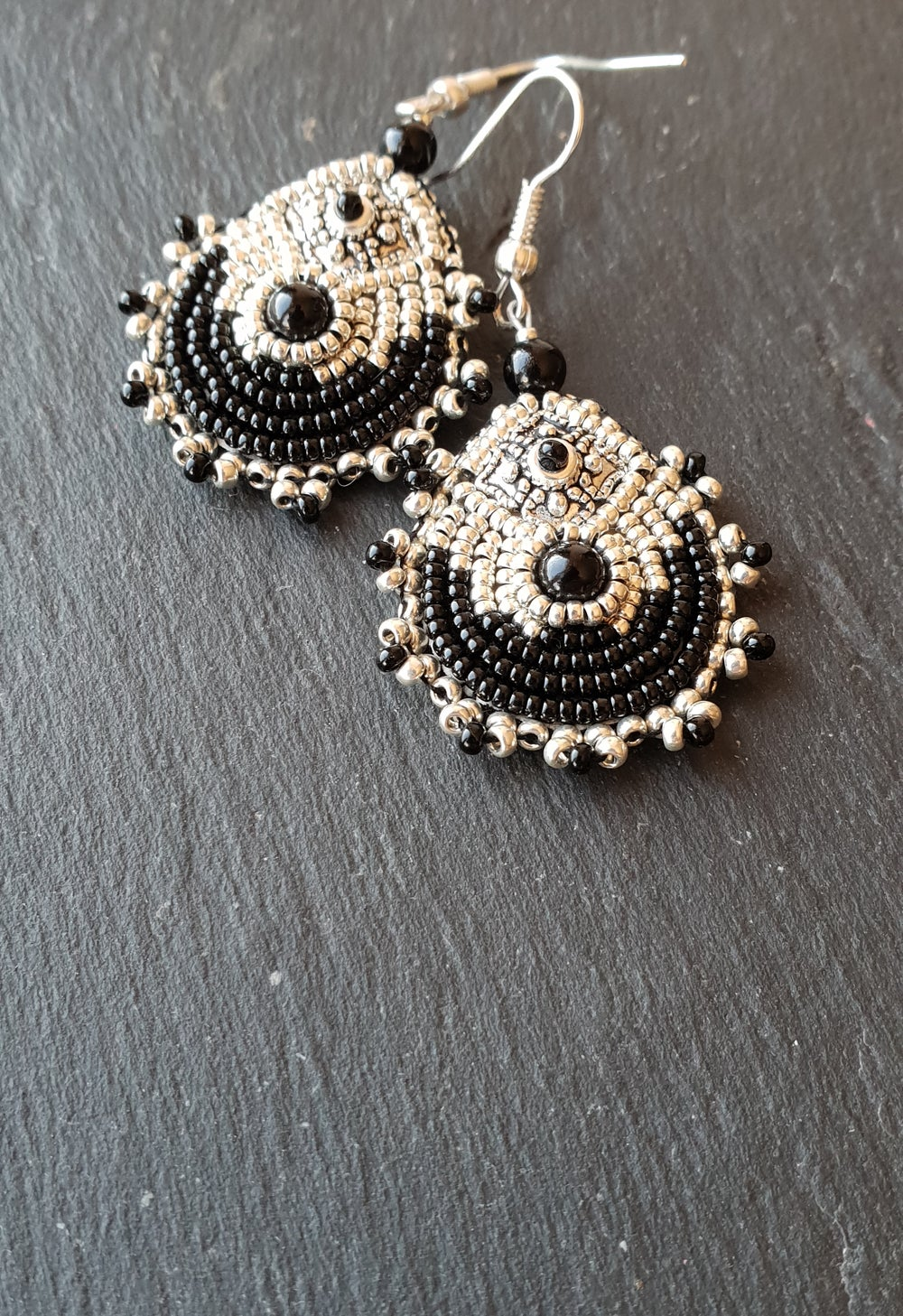 Image of Boucles d'oreille onyx METEORE