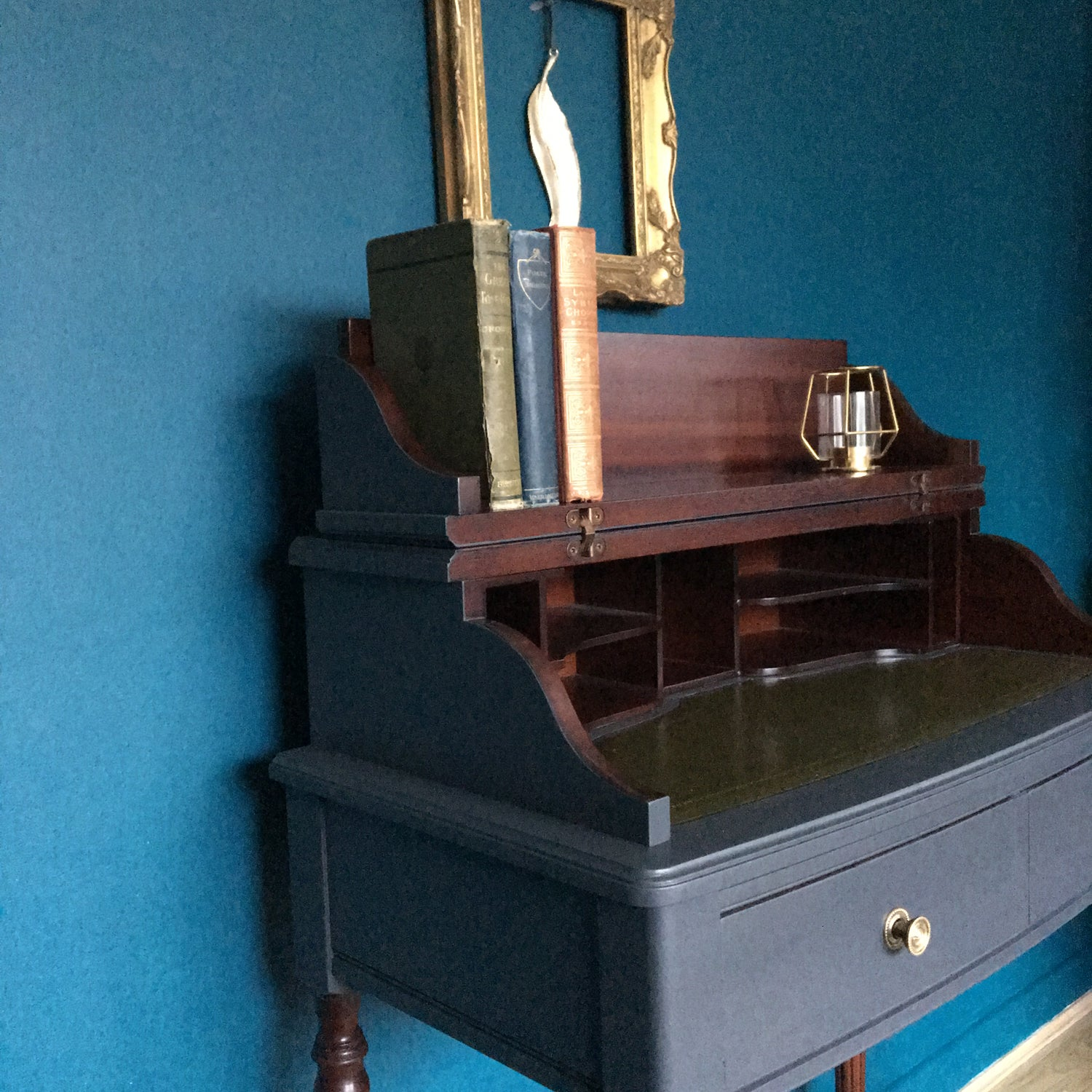 Image of Dark grey & mahogany ladies desk