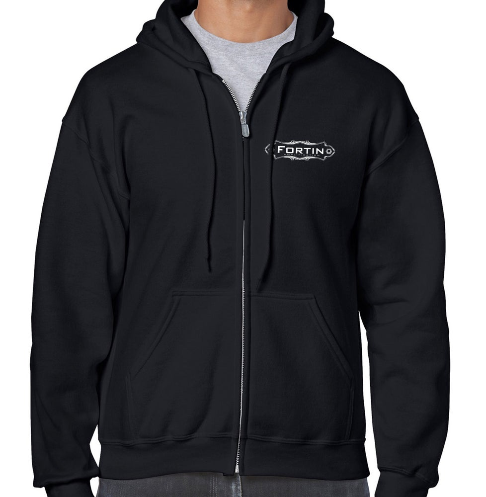 Image of FORTIN STRAIGHT LOGO LONG SLEEVE ZIP-UP HOODIE - BLACK
