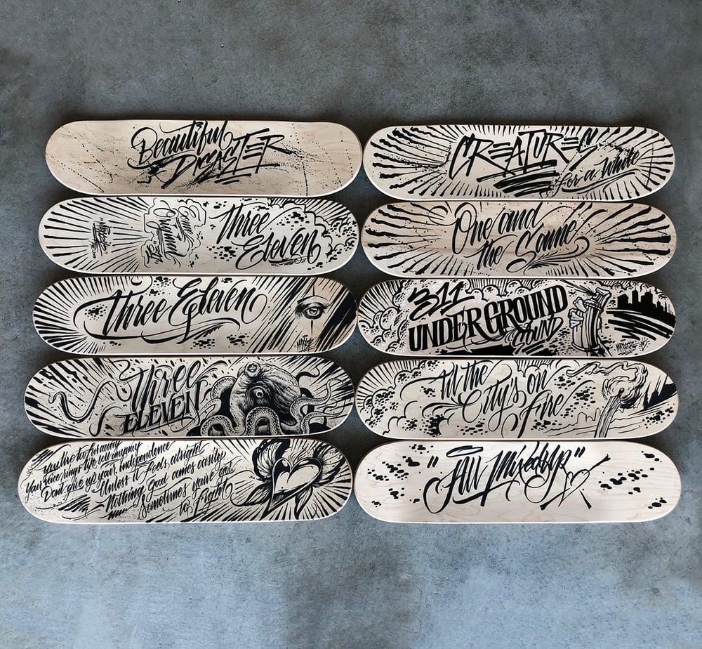 Image of 311 Hand Embellished Skateboard Decks