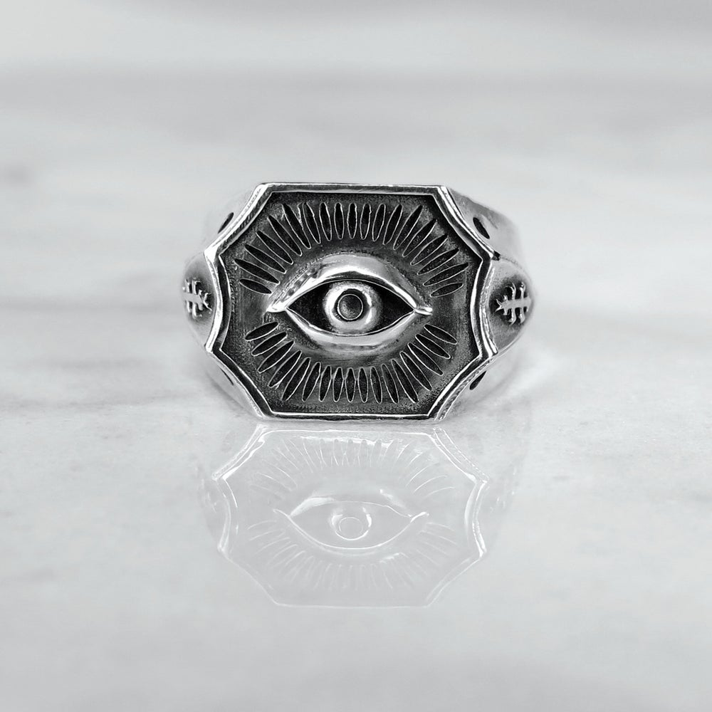 Image of All-Seeing Eye Signet Ring LG Solid-Back