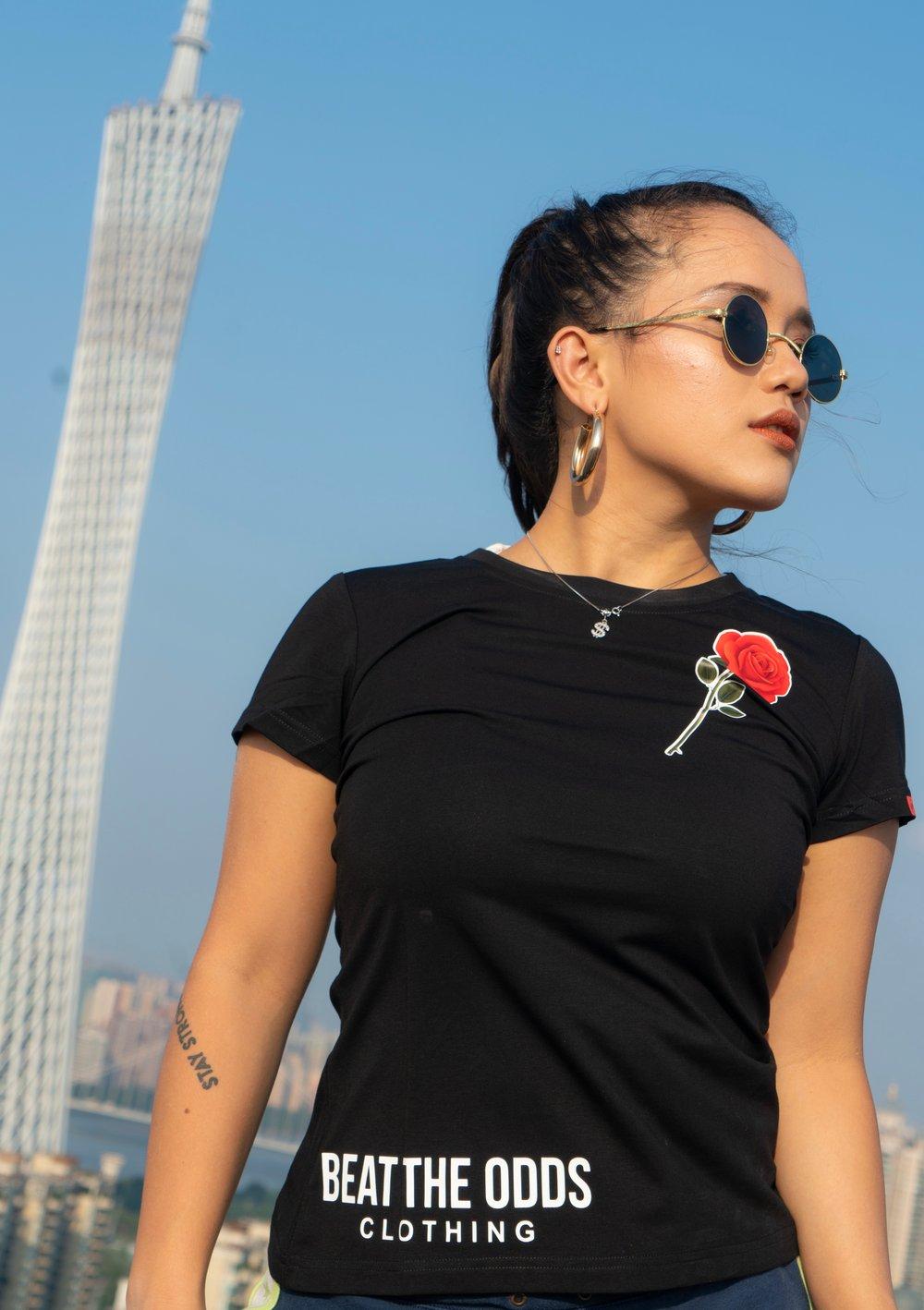 Image of Women's Rose Tee (Black)
