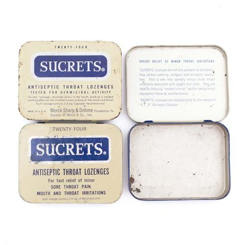 Image of Medicine Tin with Blue Ephemera