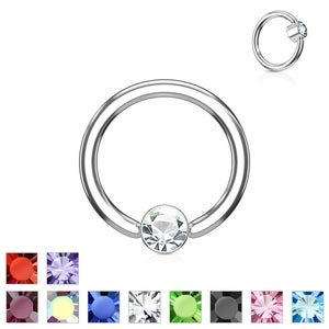 Image of Smiley Frenulum Piercing Gem Ring Flat Back Disc BCR