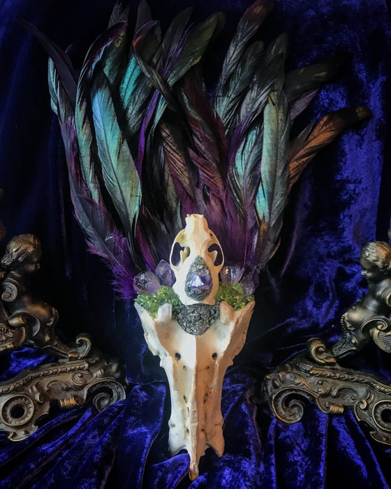 Image of Peridot & Amethyst Mink Skull Coque Tail Feathered - Sacrum Fan