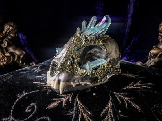 Image of Blue Titanium Quartz & Chalcopyrite - Bobcat Skull