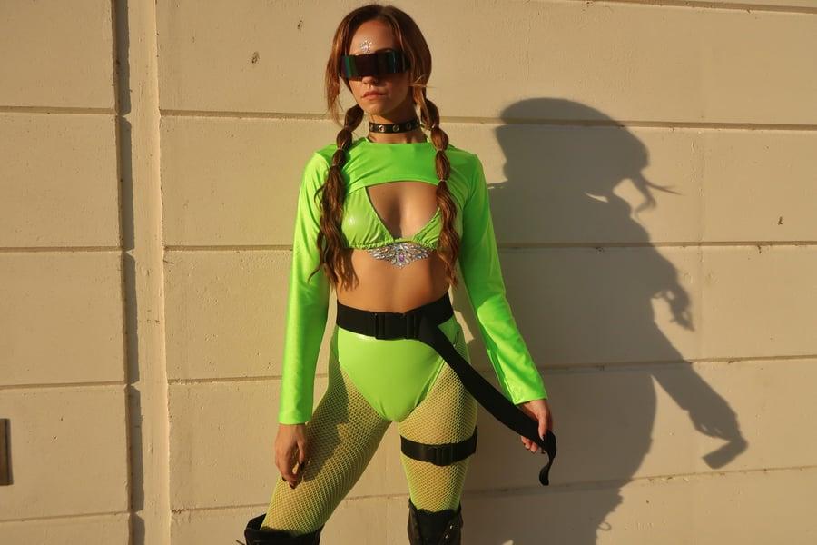 Image of Neon Green Vinyl Bikini Top