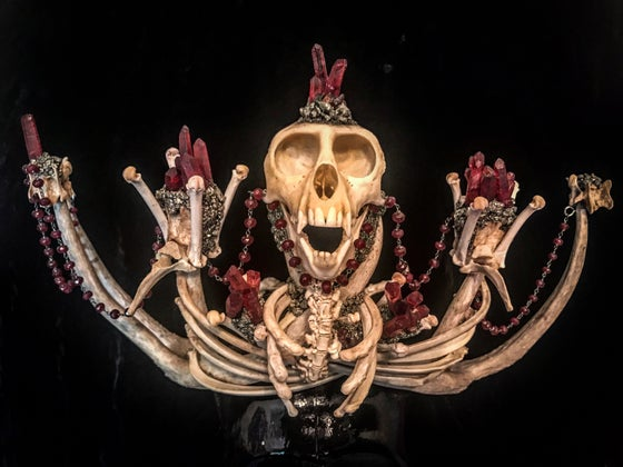 Image of Red Quartz & Garnet Vervet Monkey - Antler Crown