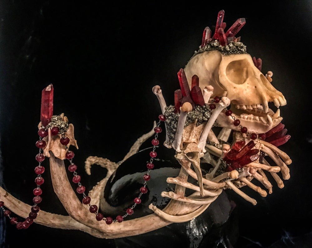 Image of Red Quartz & Garnet Vervet Monkey - Antler Crown