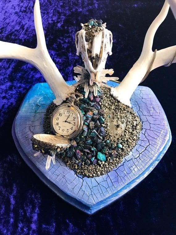 Image of White Rabbit Chalcopyrite & Quartz Dear Antler Rabbit Skull - Jewelry Display