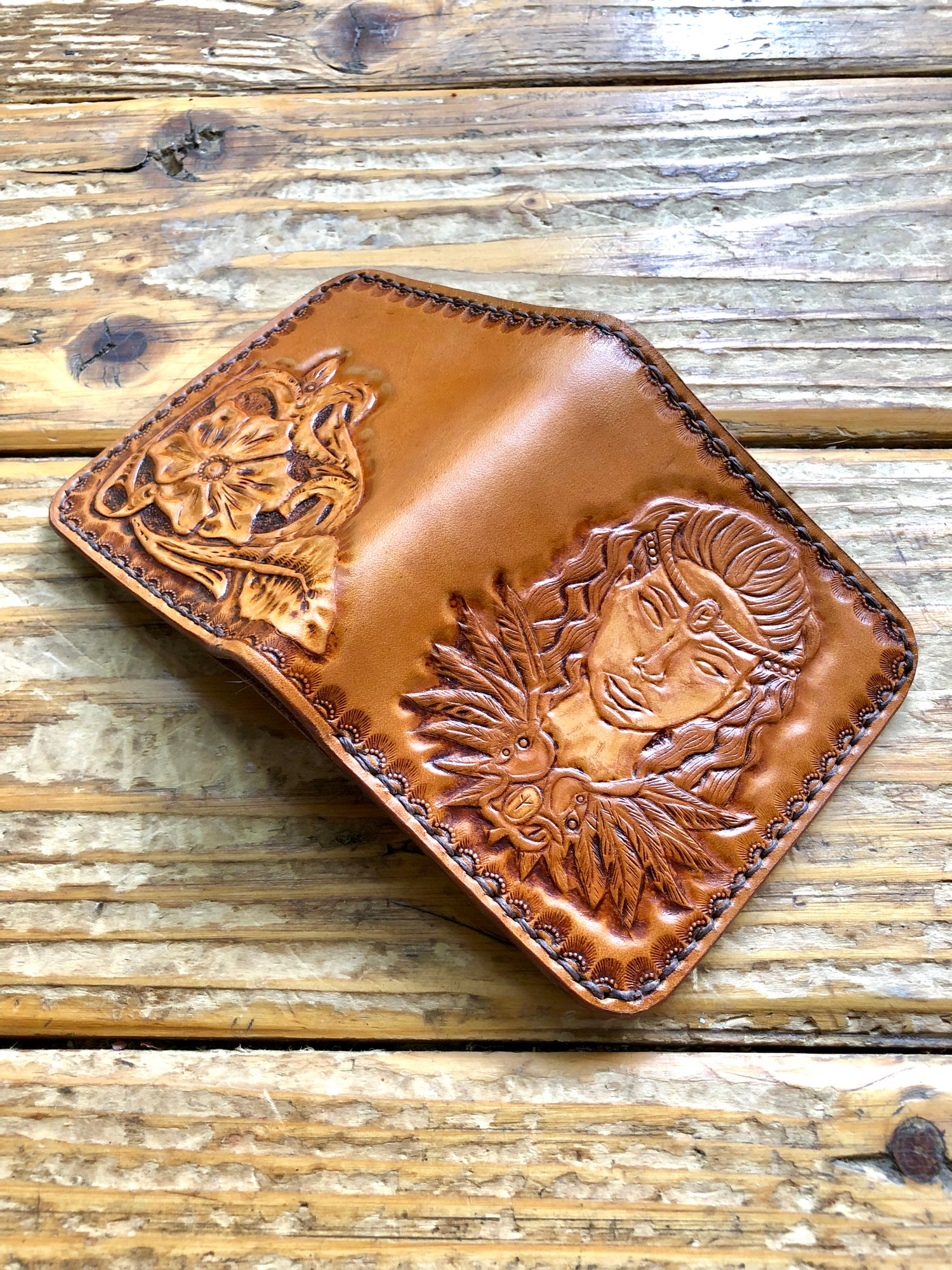 "Image of ""Earl Ingstad"" Custom Viking Bi-Fold Wallet with Cash Slot and Four Card Slots."