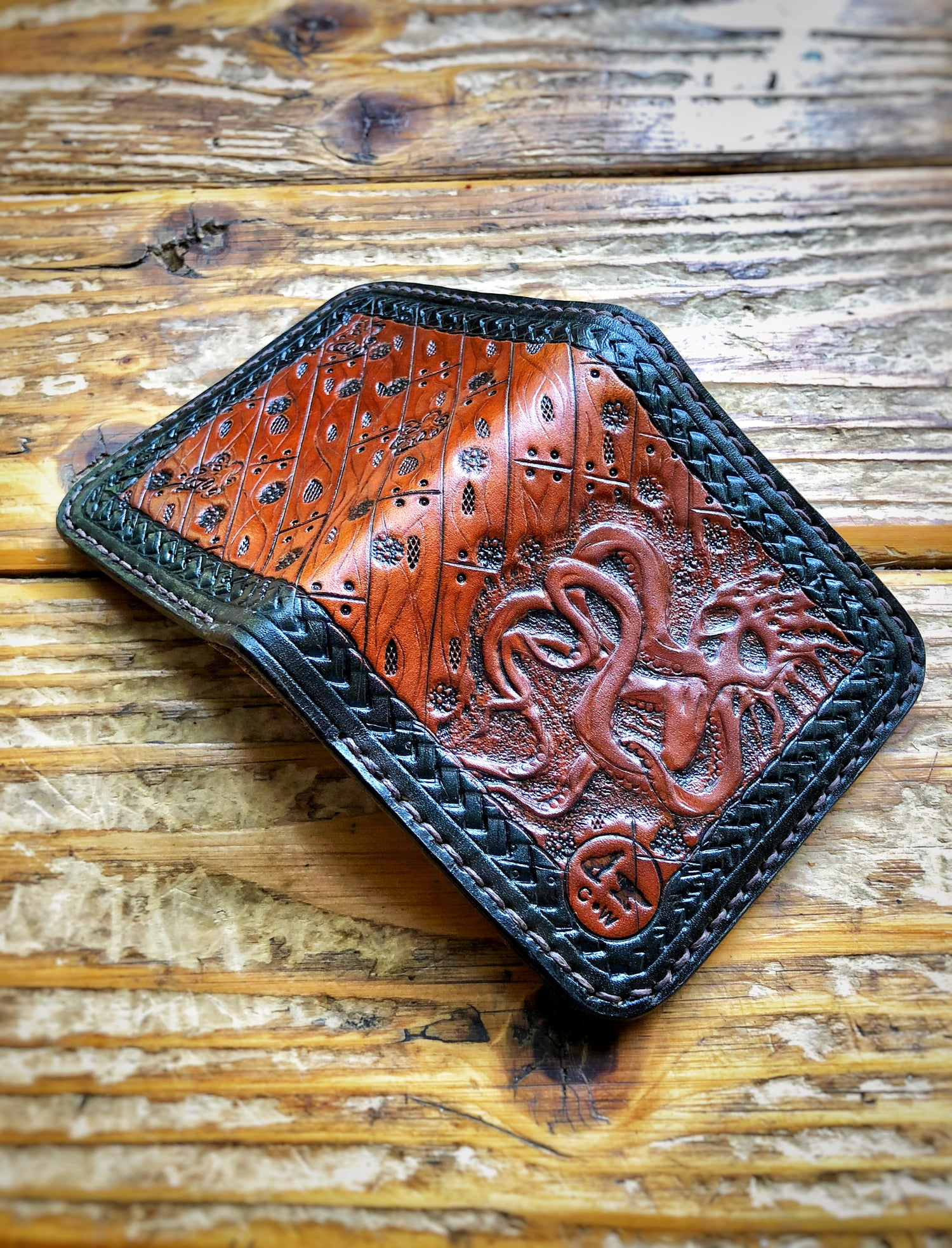 "Image of ""Shipwrecked"" Custom Bi-Fold Wallet with Cash Slot and Four Card Slots."