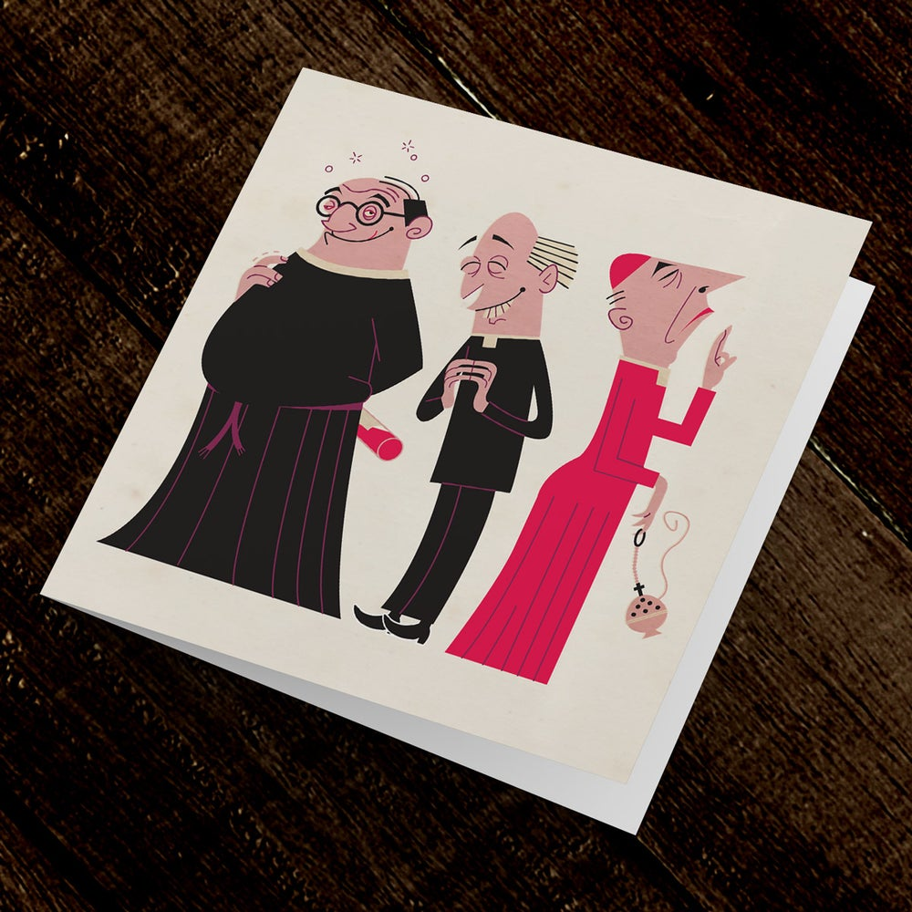 Image of Humorous Greetings Card Three Vicars | Blank inside and suitable for any occasion | Original design