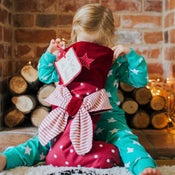 Image of Personalised Christmas Stripe Bow Stocking