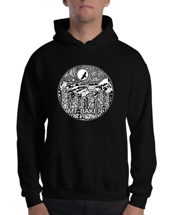 Image of UNISEX Mt Baker Snowy Owl Hooded Sweatshirt