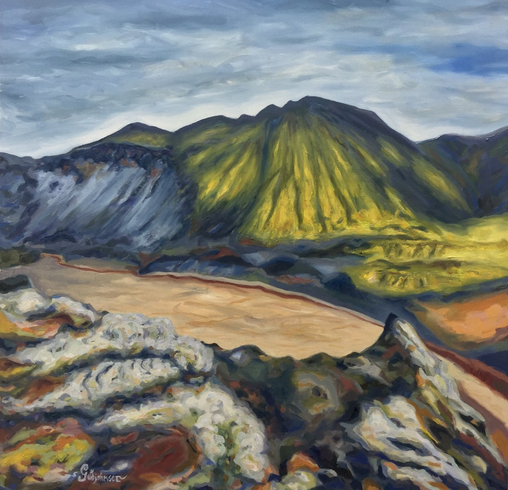 Image of Landmannalaugar river bed - Oil on canvas