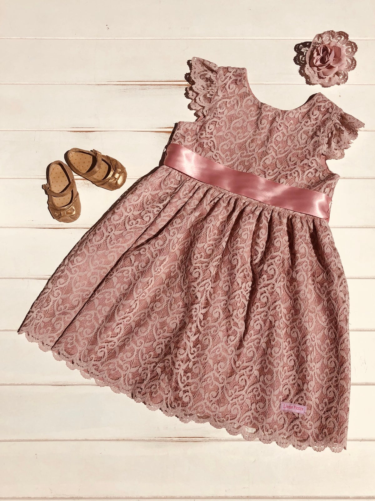Image of 'Vintage Inspired Collection' Dusty Pink Lace Dress
