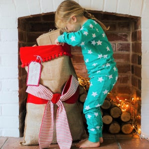 Image of Personalised Christmas sack with stripe bow