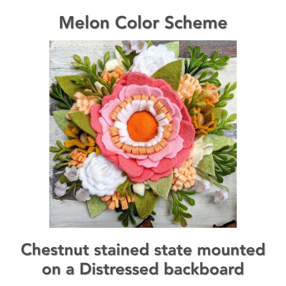 Image of Custom State Felt Flower Sign in Melon