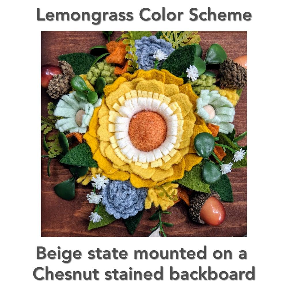 Image of Custom State Felt Flower Sign in Lemongrass