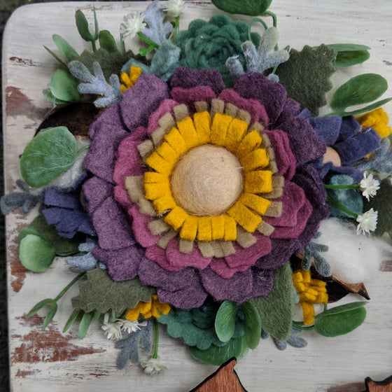 Image of Custom State Felt Flower Sign in Purple Succulent