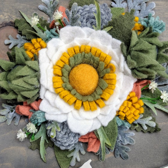 Image of Custom State Felt Flower Sign in Gray Succulent