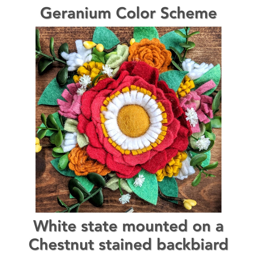 Image of Custom State Felt Flower Sign in Geranium