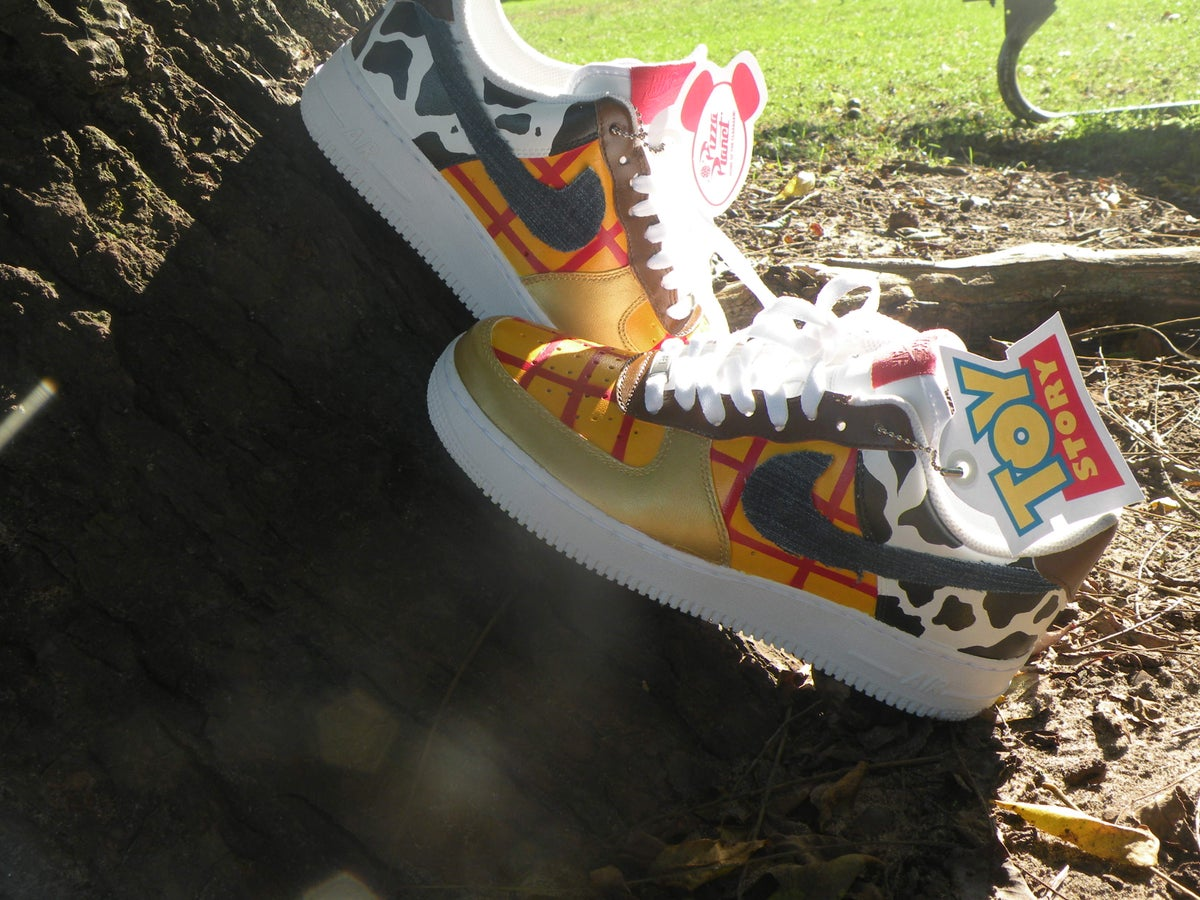 Hey Arnold custom Vans slip on.  150.00. Image of Woody toy story Nike air  force one b42d6b22b