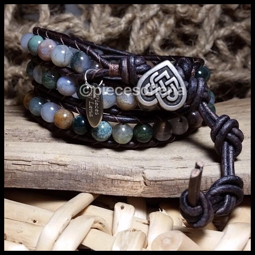 Image of Triple Wrap Bracelet - Jasper Celtic Heart