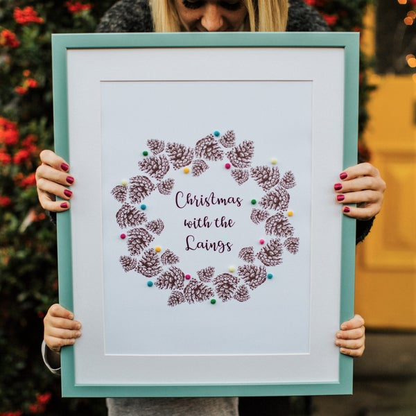Image of Personalised Pine Cone Wreath Print