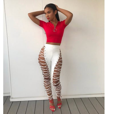 Image of White leather lace up pants